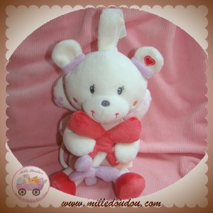 POMMETTE SOS DOUDOU OURS ANGE AILE ROBE ROSE FLEURS MUSICAL
