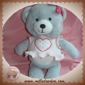 ORCHESTRA SOS DOUDOU OURS GRIS ROBE ROSE COEUR VENTRE BLANC
