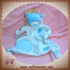 BABYNAT BABY NAT SOS DOUDOU OURS BLEU PLAT MOUCHOIR CARRE ROND NOEUD