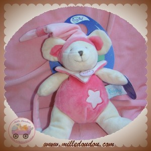 BABYNAT BABY NAT SOS DOUDOU OURS SOURIS ECRU ROSE ETOILE FLUORESCENT