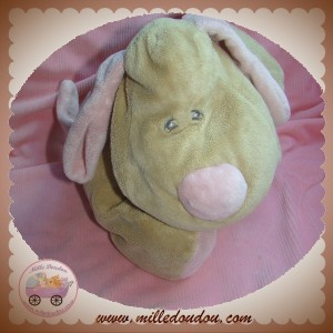 ANIMAL ALLEY SOS DOUDOU CHIEN BEIGE ALLONGE BOUT ROSE