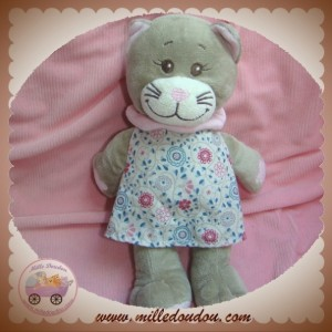 BENGY SOS DOUDOU CHAT GRIS ROSE ROBE TISSU MARIANNE 27 cm