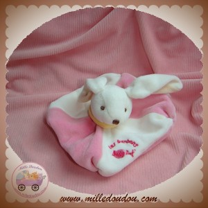 BABYNAT BABY NAT SOS DOUDOU LAPIN PLAT BLANC ROSE LES BONBONS
