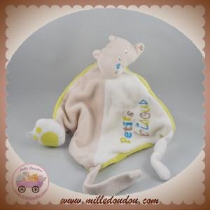 MOTS D'ENFANTS SOS DOUDOU RENARD PLAT BLANC VERT BEIGE BISOUS SIPLEC