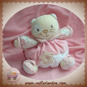 KALOO DOUDOU CHAT BOULE ROSE FLEUR HOCHET TINY CHUBBY CAT COCARD SOS