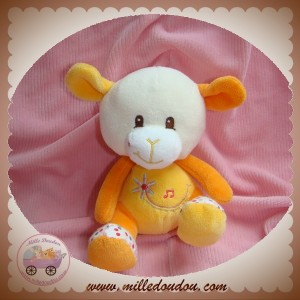GIPSY SOS DOUDOU MOUTON BLANC ORANGE MUSICAL FLEUR