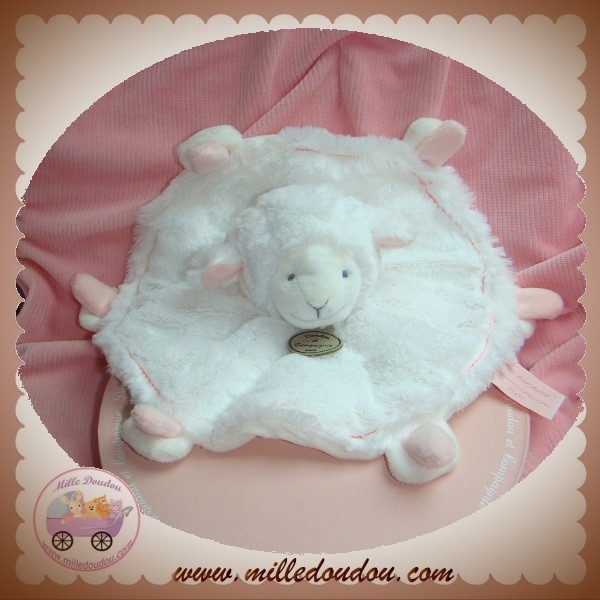 doudou et compagnie sos agneau mouton plat blanc rose mouchoir rond dc2428. Black Bedroom Furniture Sets. Home Design Ideas