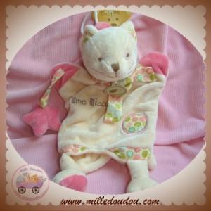 BABYNAT BABY NAT SOS DOUDOU CHAT MARIONNETTE MIAOU BEIGE ROSE FLEUR