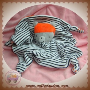 ORCHESTRA SOS DOUDOU OURS GRIS PLAT SUPER PIRATE RAYE NOIR ORANGE