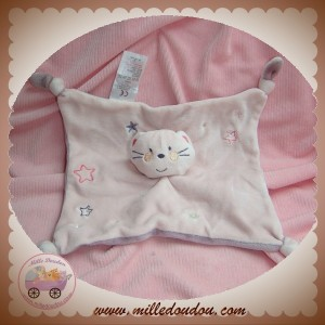 ABSORBA SOS DOUDOU CHAT PLAT ROSE VIOLET ETOILES NOEUD