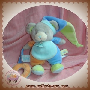 BABYNAT BABY NAT SOS DOUDOU SOURIS GRISE BLEU ORANGE VERT ROND BOUEE