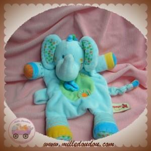 NICOTOY SOS DOUDOU ELEPHANT PLAT BLEU VERT FEUILLE