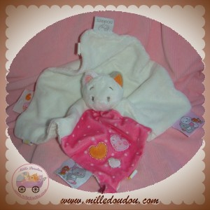 NOUKIE'S SOS DOUDOU CHAT CELIA PLAT BLANC ROSE COEUR ATTACHE TETINE