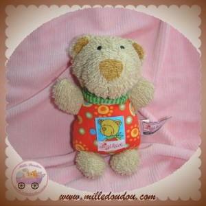 SIGIKID SOS DOUDOU OURS BEIGE CORPS TISSU ROND ROUGE
