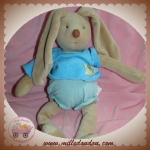 MOULIN ROTY SOS DOUDOU LAPIN MALO BEIGE BARBOTEUSE PULL BLEU