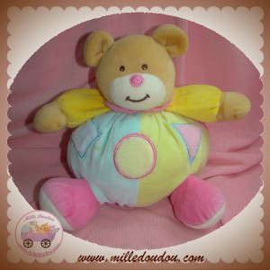 GIFI SOS DOUDOU OURS BEIGE BOULE BLEU JAUNE ROSE ROND TRIANGLE