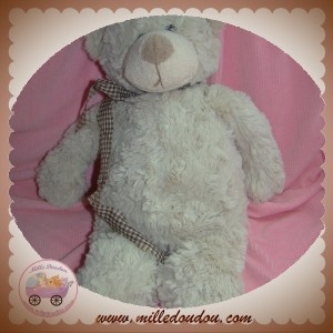 GIFI SOS DOUDOU OURS POIL GRIS TAUPE CHINE NOEUD VICHY