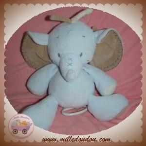 NATTOU SOS DOUDOU ELEPHANT BLEU BEIGE MUSICAL