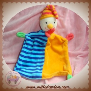 BABY CLUB C&A SOS DOUDOU LUTIN CLOWN PLAT BLEU RAYE ORANGE