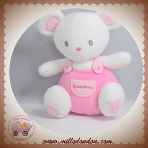 LUMINOU SOS DOUDOU SOURIS OURS FLUORESCENT SALOPETTE ROSE 15 CM