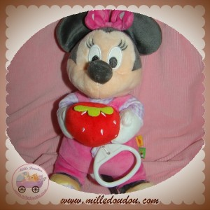 DISNEY SOS DOUDOU SOURIS MINNIE SALOPETTE ROSE MUSICAL FRAISE