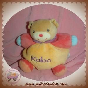 KALOO SOS DOUDOU OURS BEIGE BOULE ORANGE PLUME VELOURS ROSE BLEU