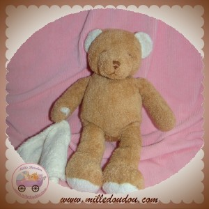 ANNA CLUB PLUSH SOS DOUDOU OURS MARRON MOUCHOIR ECRU
