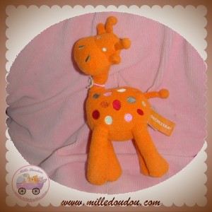 ORCHESTRA SOS DOUDOU GIRAFE ORANGE ROND ROSE ROUGE