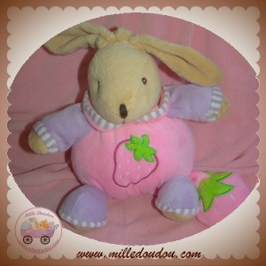 MGM SOS DOUDOU LAPIN BEIGE BOULE ROSE FRAISE MUSICAL