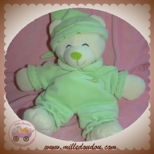 GIPSY SOS DOUDOU OURS BLANC HABIT VERT LUNE BEAR