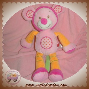 TEX SOS DOUDOU SOURIS ROSE ORANGE ROND POINTS
