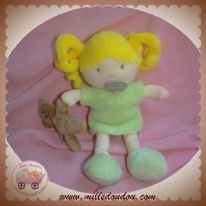 DOUDOU ET COMPAGNIE MLLE POMME POUPEE FILLE BLONDE ROBE VERT OURS SOS