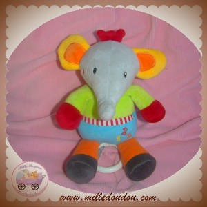 BABY CLUB SOS DOUDOU ELEPHANT GRIS VERT ROUGE 123 MUSICAL