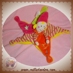AUGUSTA DU BAY SOS DOUDOU CLOWN PLAT GUGUS CIRCUS ETOILE ROSE ORANGE