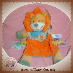 TEX SOS DOUDOU LION ORANGE PLAT GRIS ELEPHANT ATTACHE TETINE