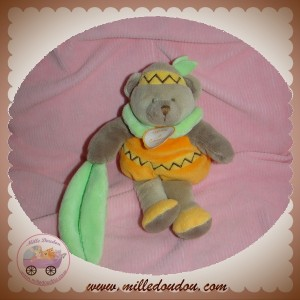 DOUDOU ET COMPAGNIE OURS MARRON CORPS ORANGE INDIEN FEUILLE VERT KILLIAN