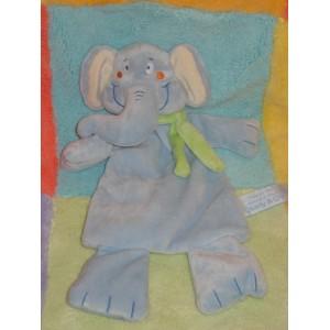 CHARLY & CIE SOS DOUDOU ELEPHANT PLAT BLEU ECHARPE VERTE
