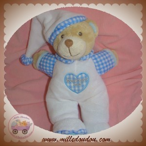 KEEL TOYS SOS DOUDOU OURS BEIGE CORPS BLANC VICHY BLEU GOODNIGHT BEAR
