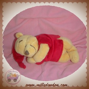DISNEY SOS DOUDOU OURS WINNIE JAUNE ALLONGE HABIT ROUGE