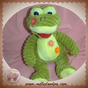 CP INTERNATIONAL SOS DOUDOU GRENOUILLE VERTE FLEUR ROSE ORANGE