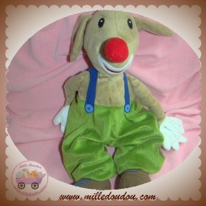 IKEA SOS DOUDOU CHIEN CLOWN SALOPETTE VERTE NEZ ROUGE