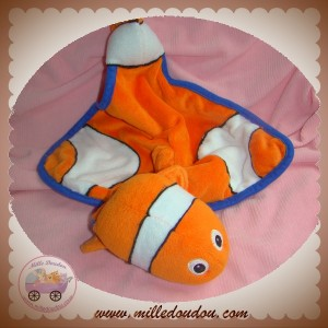 DISNEY SOS DOUDOU POISSON NEMO ORANGE PLAT BLEU ET BLANC