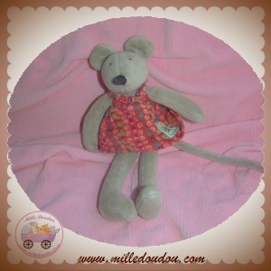 MOULIN ROTY SOS DOUDOU SOURIS GRISE ROBE ROUGE 20 cm