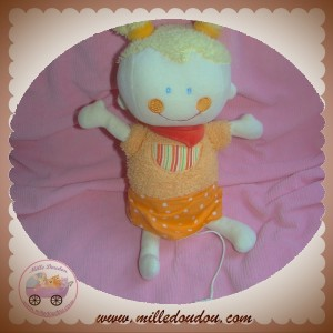 BABYSUN SOS DOUDOU POUPEE FILLE ROBE ORANGE MUSICAL