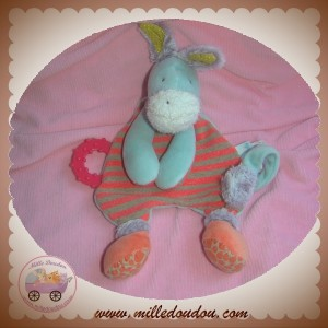 MOULIN ROTY SOS DOUDOU ANE BISCOTTE ET POMPOM PLAT RAYE ROUGE DENTITION ATTACHE TETINE