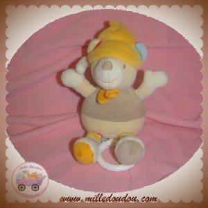 BABY CLUB SOS DOUDOU OURS BEIGE BONNET ORANGE MUSICAL