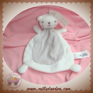 H&M H & M SOS DOUDOU OURS PLAT BLANC RAYE BEIGE JOUE ROSE