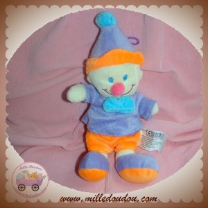 B&G SOS DOUDOU CLOWN VIOLET ORANGE NOEUD BLEU