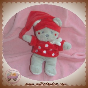 NICOTOY SOS DOUDOU OURS GRIS PULL ROUGE ETOILE