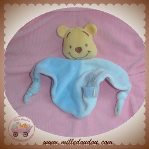 DISNEY SOS DOUDOU OURS WINNIE L'OURSON PLAT TRIANGLE BLEU CLAIR FONCE